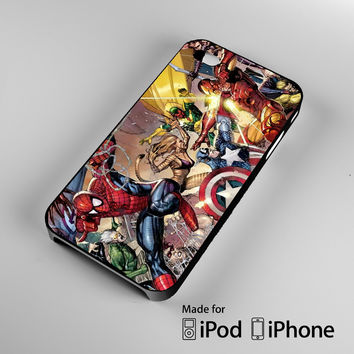 Marvel Superheroes Sticker Bomb DC Comics A0116 iPhone 4 4S 5 5S 5C 6, iPod Touch 4 5 Cases