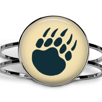 Bear paw hinged cuff bracelet, choice of silverplate or brass