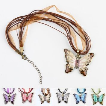 Charming Jewelry Retro Heavy Rhinestones Inlaid Butterfly Necklace Sweater Chain 6 Colors