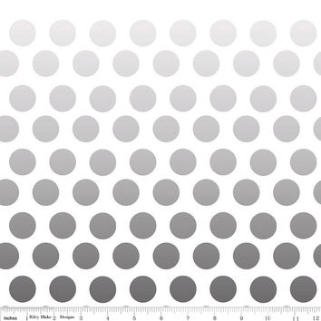 Ombre Gray to Black Polka Dot Quilting Cotton Fabric by Riley Blake Designs, 1 Yard, more yardage available