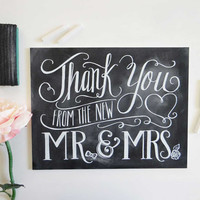 The New Mr. & Mrs. Thank You - Chalkboard Sign
