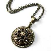 Silver and Gold Mirror Victorian Button Necklace - Brass Classic