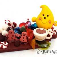 Christmas Candy Parker StoryBook Scene - Twelve Days of Christmas Polymer Clay Character Figure