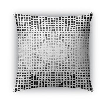 GODS EYE BLOCK PRINT BW Indoor|Outdoor Pillow By Becky Bailey