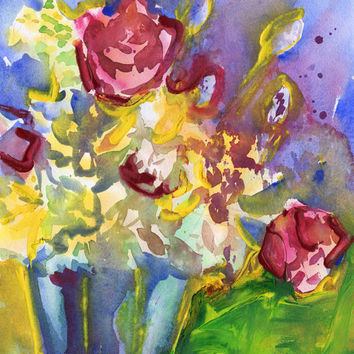 Vibrant Watercolor Bouquet - Original Painting - Mothers Day Gift - Red - Yellow - Blue - Green