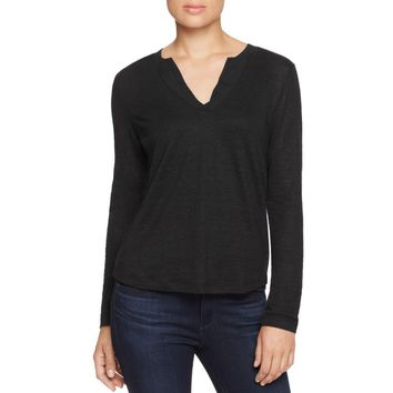 Sanctuary Womens Parisian City  Linen Split Neck Casual Top