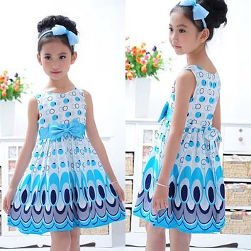 UNIKIDS Summer Kids Baby Girls Sleeveless Dress Bow Belt Princess Tutu Peacock Pattern Party Dress