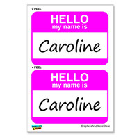 Caroline Hello My Name Is - Sheet of 2 Stickers