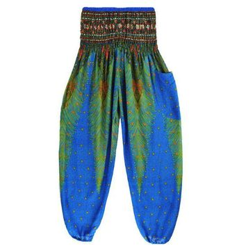 Thai Harem Trousers Boho High Waist Yoga Pants