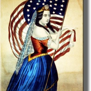 American Woman Holding American Flag Picture on Acrylic Wall Art Décor Framed Ready to Hang!