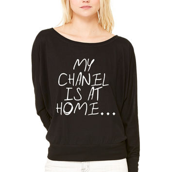 My chanel is at home WOMEN'S FLOWY LONG SLEEVE OFF SHOULDER TEE