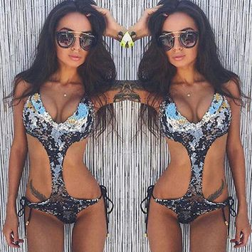 Beach Summer Hot New Arrival Swimsuit Silver Sexy Swimwear Bikini [10671941959]