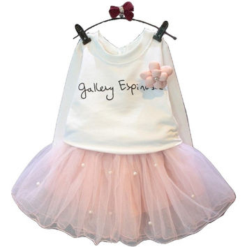 Bear Lovely Girls White Tee Shirt and Pink Skirt With Rhinestone Girl Clothing Sets