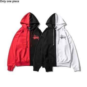 Stussy hot frock hoodie fashion dislocation print casual couple hoodie