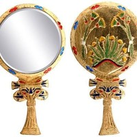Egyptian Floral Lotus Flower Hand Mirror 9.25H
