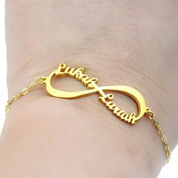 Charms Custom Infinity Name Bracelet Personalized Lover Bracelets For Women Kids Birthday Gifts Jewelry Stainless Steel Chain