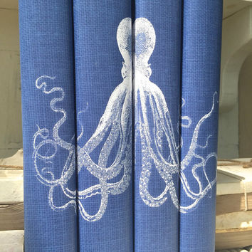 Octopus Decorative Books - Blue Decorative Books with Octopus Custom Book Covers - Book Decor - Beach House Books - Beach Decor - Blue Books