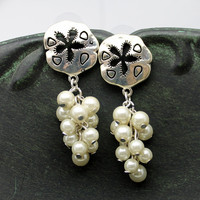 Sanddollar and Pearl Dangle Earrings Sealife Beach Jewelry