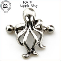 BOG-Pair 316L Surgical Steel Barbell Octopus Squid  Nipple Shield Piercing Ring Body Jewelry