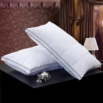 48*74cm White Color Bread Style Rectangle Goose/Duck Down Pillows Down-proof Cotton fabric  Bedding Soft Pillow