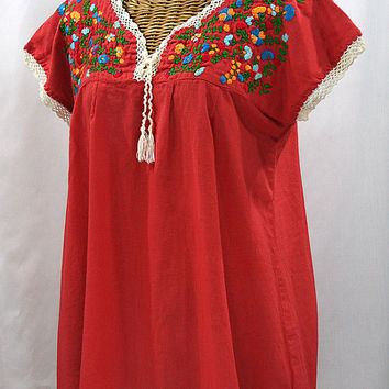 "Sleeveless Mexican Peasant Top Blouse Sleeveless Hand Embroidered: ""La Marbrisa Cap"" Tomato Red + Multi Colored Embroidery"