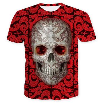 Skull Print Red Flowers Skull T shirt