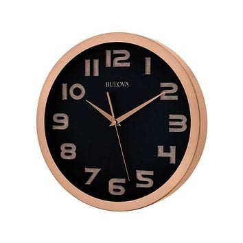 Bulova Revere Large Contemporary Wall Clock - Brushed Copper Finish - Black Dial