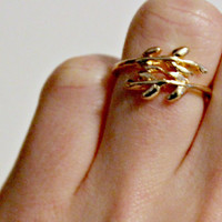Gold Branches Leaves Finger Ring Stylish Statement Accessories Jewelry Metal