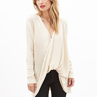 LOVE 21 Twist-Front Longline Sweater Cream Small