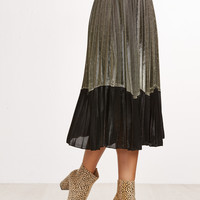 Black Gold Elastic Waist Pleated Skirt