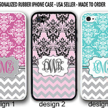 Personalized MONOGRAM TEAL PINK DAMASK GREY CHEVRON CASE For iPhone 6S 6S+ 5S SE