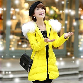 XXXL-XXXXXXL Winter Jacket Women Nice New Long White Duck Down Women's Winter Jacket Big Wool Fur Collar Parka AW1111