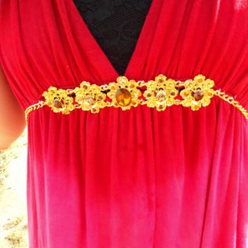 Red to Pink Ombre Sun Dress - Hand Dyed - Summer Halter Dress - Gold Gemstones Rhinestones - Country Style Clothing