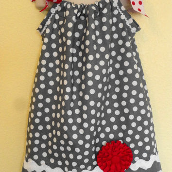 Grey Polka Dot Dress, Pillowcase Dress, Summer Dress, Easter Dress, Girls Spring Dress