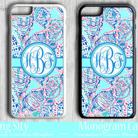 Monogram Sea Shells Teal iPhone 5C 6 Case 6 Plus iPhone 5s Tough case Ipod Tough Cover Aqua Coral Navy Conch Shells Custom Personalized