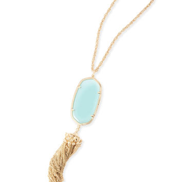 Kendra Scott Rayne Chalcedony Clear Glass Gold Necklace with Tassel