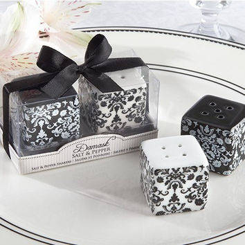 Free shipping + 16sets/lot=32pcs/lot wedding favor + Black and White Damask Ceramic Salt and Pepper Shakers  bridal shower