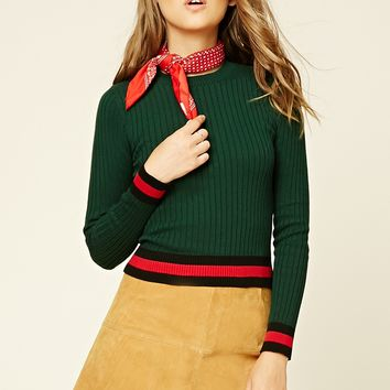 Striped Trim Sweater Top