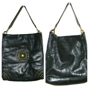 Vintage  Pollini  bag in black leather with gold rivets - rare and original