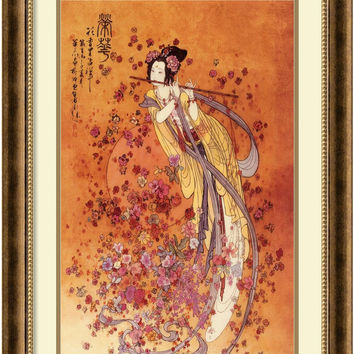 0-001412>Goddess of Prosperity Framed Print by Chinese Burnished Bronze