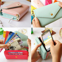 New Leather Wallet Phone Card Holder Case Coin Purse Bag Pouch For Iphone 4 4S 5