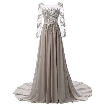 New Fashion A-Line Scoop Chiffon Full Evening Dresses Cap Sleeve Party Dress Appliques Beads Sashes Pleat Elegant Evening Gowns