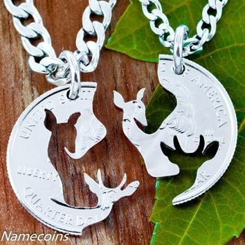 Brother and Sister Jewelry, Buck and Doe Quarter Necklace, Couples Puzzle Piece