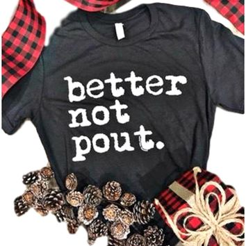 """Short Sleeve """"Better Not Pout"""" Christmas Tee, Charcoal"""