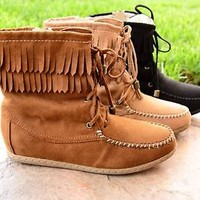 Womens Fringe Moccasin Ankle Flat Boots Lace Up Faux Suede Zipper Booties New