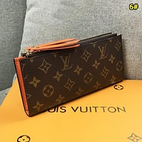 Louis Vuitton LV Women Fashion New Monogram Print Leather Double Zipper Wallet Purse 6#