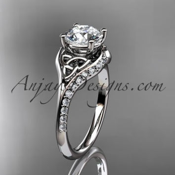 "14kt white gold diamond celtic trinity knot wedding ring, engagement ring with a ""Forever One"" Moissanite center stone CT7125"