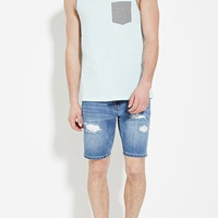 Distressed Denim Shorts | 21 MEN - 2000151082