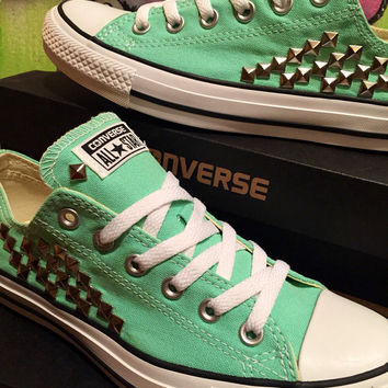 Custom Studded Mint Converse - Chuck Taylors - ALL SIZES & COLORS!