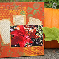 Fall Leaves Photo Art, Mixed Media Painting with Autumn Poems, Red Leaf, Original Artwork, Home Decor, Fall Colors, Wall Hanging, Canvas Art